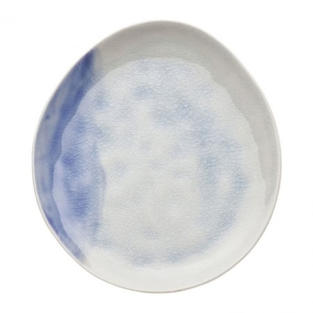 Plate Crackle White Blue Ø21cm