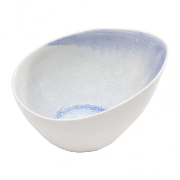 Bowl Crackle White Blue