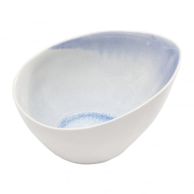 Bowl Crackle White Blue