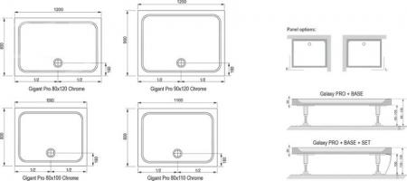 Душевой поддон RAVAK GIGANT PRO 110/80 Chrome