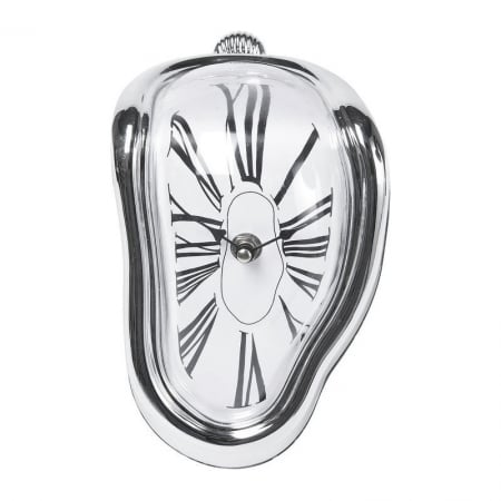 Table Clock Flow Silver
