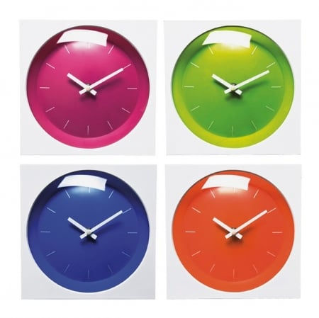 Wall Clock Pop Square 20cm Sortiert