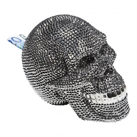Money Box Skull Crystal Silver
