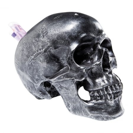 Money Box Skull Silver Antique