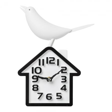 Wall Clock Bird White