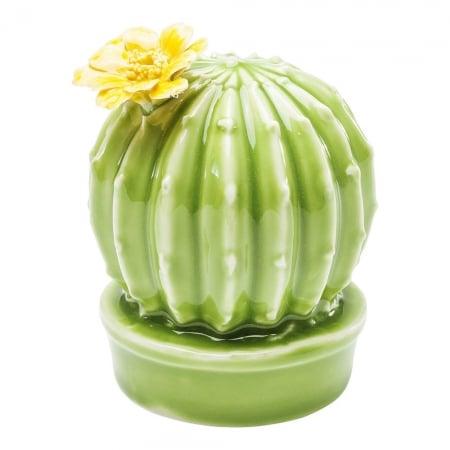 Deco Cactus Yellow Flower Round 10cm