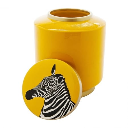 Deco Jar Zebra  Yellow 25cm