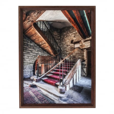 Picture Frame Old Staircase Red Carpet 80x60cm
