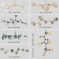 Люстра Branching  Gold/Amber на 6 плафонов