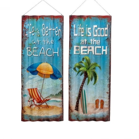 Wall Decoration Beach Wave 82x37cm Assorted