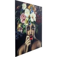 Картина стеклянная Pretty Flower Woman 120x120сm
