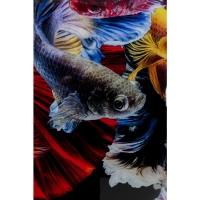 Картина на стекле Colorful Swarm Fish 120х120cm