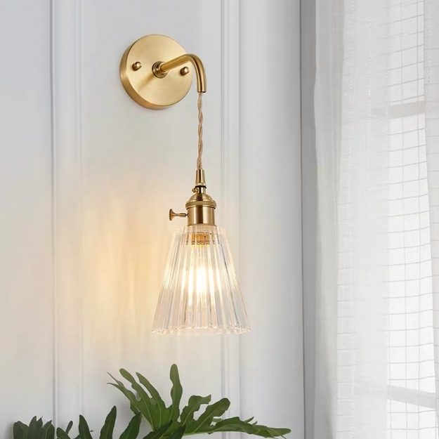 Бра Pleated Gold/Clear H30