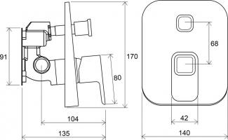 Сместитель скрытого монтажа ванна/душ для R-box TD 065.00 RAVAK