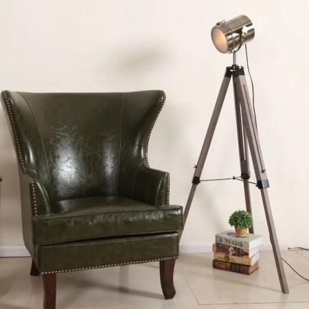 Торшер Wooden leg silver 15х138см