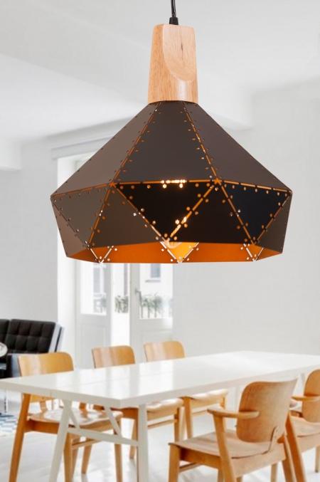 Светильник потолочный металл-сетка-ясень d-35см
