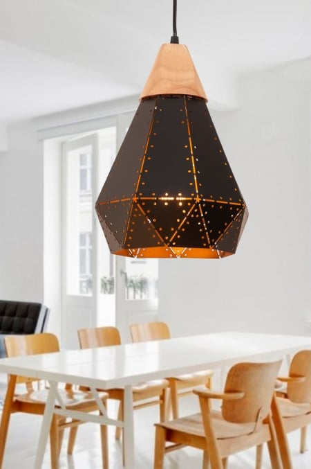 Светильник потолочный металл-сетка-ясень d-22см