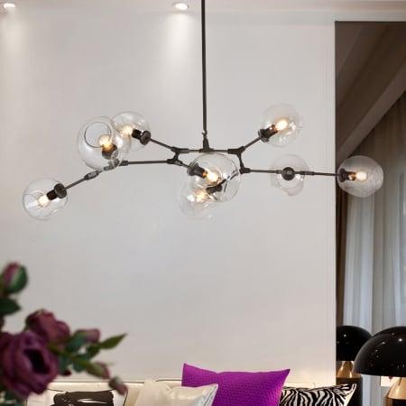 Люстра Branching Black/Clear на 8 плафонов