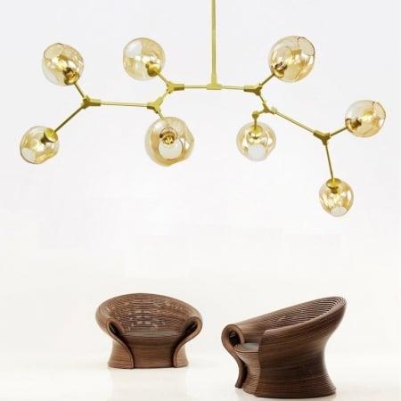 Люстра Branching  Gold/Amber на 8 плафонов