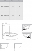 Штора на ванну Ravak CVSK1 Rosa-160/170, (L) сатин